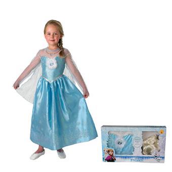 Disfarce Elsa com Peruca - Tamanho M 5-6 Anos