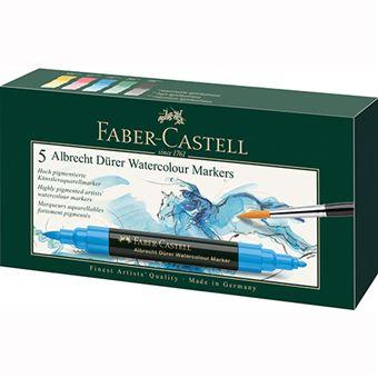 Caixa com 5 Marcadores Aguareláveis Faber-Castell Albrecht Durer - Ponta Dupla