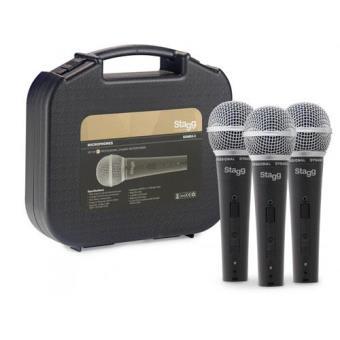 Conjunto de 3 Microfones Dinâmicos Profissionais Cardióide com Cartucho DC78