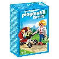 Playmobil City Life 5573 Mãe com Carrinho de Gémeos