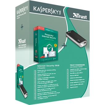 Anti-Virus Kaspersky Internet Security 2019 - 4 Dispositivos | 1 Ano + Power Bank Trust 4400mAh