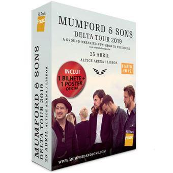 Fã Pack Fnac Mumford & Sons – Voucher Plateia em pé | Preço: 51.6€ Pack + 3.8€ Custos de Operação