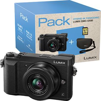 Pack Fnac Panasonic Lumix DMC-GX80 + G Vario 12-32mm f/3.5-5.6 ASPH. + Cartão SD + Bolsa
