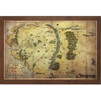 Mapa com Moldura em Madeira Lord of the Rings Middle Earth