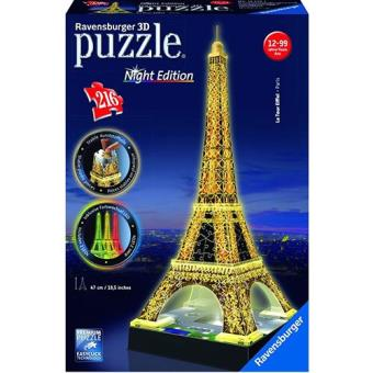 Puzzle 3D Eiffel Tower Building With Light (216 peças)