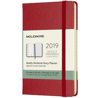 Agenda Semanal 2019 Moleskine Notebook Bolso Vermelho