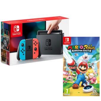 Pack Nintendo Switch 32GB Azul & Vermelho Néon + Mario + Rabbids Kingdom Battle