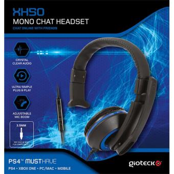 Gioteck XH50 Wired Mono Headset Blue PS4/Xbox One/PC