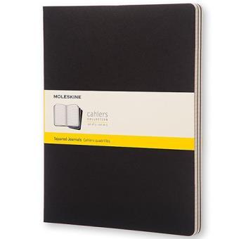 Cadernos Quadriculados Moleskine Cahier XXL Preto - 3 Unidades
