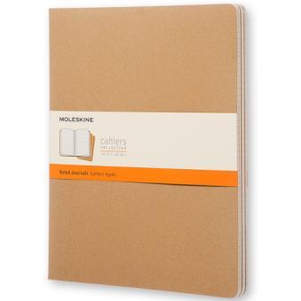 Cadernos Pautados Moleskine Cahier XXL Kraft - 3 Unidades