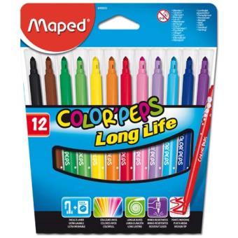 Canetas de Feltro Maped Color'Peps Long Life - 12 Unidades