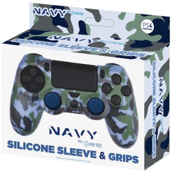 Capa Silicone + Grips Camo Navy PS4
