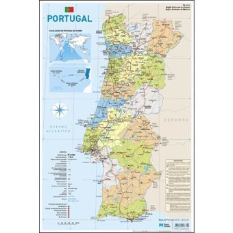 Mapa De Portugal Escolar Pequeno 2 Faces Folha Plastificada