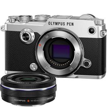 Olympus PEN-F (Prateado) + M. Zuiko Digital 14-42mm f/3.5-5.6 EZ (Preto)
