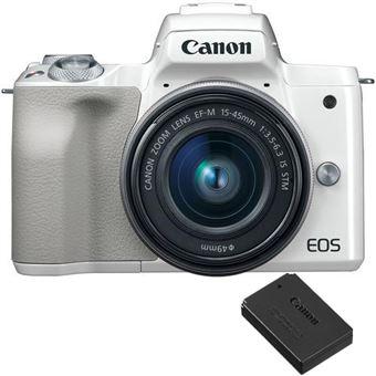 Canon EOS M50 + EF-M 15-45mm f/3.5-6.3 IS STM + Bateria Canon LP-E12 - Branco