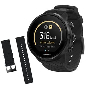 Relógio Desporto Suunto 9 - All Black + Bracelete Suunto Urban 2 - 24mm - Black Black M