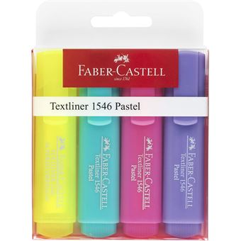 Marcadores Fluorescentes Faber-Castell Textliner 1546 Pastel - 4 Unidades