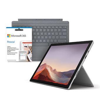 Pack Fnac Computador Portátil Microsoft Surface Pro 7 - Platina - Core i5 | 128GB | 8GB + Capa Teclado Microsoft - Platina + Microsoft 365 Pessoal 1 Ano