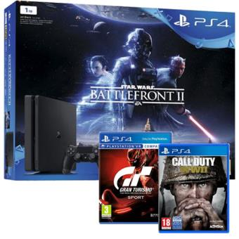 Pack Consola PS4 1TB Star Wars Battlefront II + Call of Duty: WWII + GT Sport