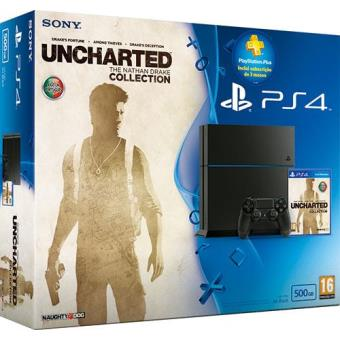 Consola Sony PS4 500GB + Uncharted: The Nathan Drake Collection + Subscrição 3 Meses