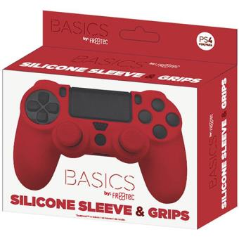 Pack Capa Silicone + Grips Vermelhos PS4