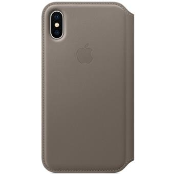 Capa Apple Leather Folio para iPhone X - Taupe