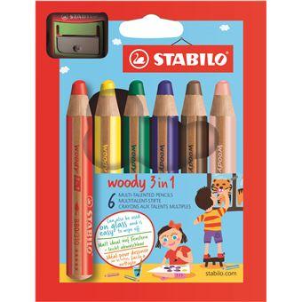 Lápis de Cor Stabilo Woody 3-em1 com Afia-Lápis - 6 Unidades