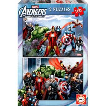 Puzzle Heróis Marvel - 2 x 100 Peças