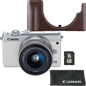 Canon EOS M100 + EF-M 15-45mm f/3.5-6.3 IS STM - Branco + Cartão de Memória + Bolsa