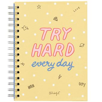Caderno Quadriculado Mr. Wonderful - Try Hard Every Day A5