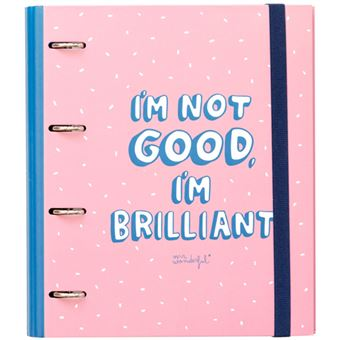 Dossier 4 Argolas e Recarga Quadriculada Mr. Wonderful - I'm Not Good, I'm Brilliant A4