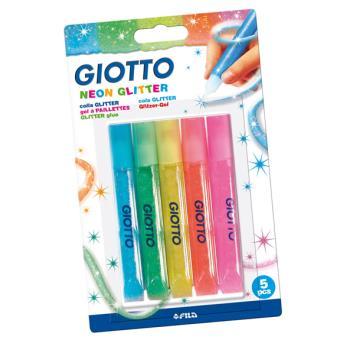 Canetas de Cola e Purpurinas Giotto Neon Glitter Glue - 5 Unidades