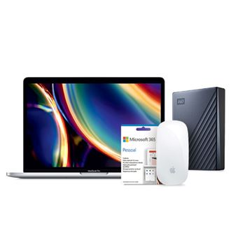 Pack Fnac Apple MacBook Pro 13'' i5-1,4GHz | 16GB | 256GB - Prateado + Disco Externo WD - 2TB + Magic Mouse 2 + Office 365 Pessoal