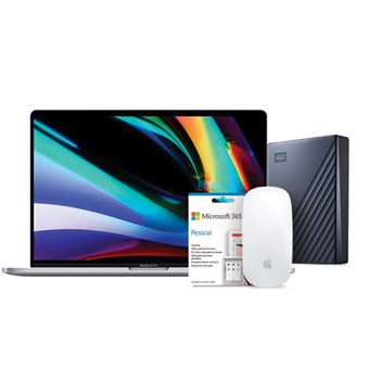 Pack Fnac Apple MacBook Pro 16''  i7-2,6GHz | 32GB | 512GB - Cinzento Sideral + Disco Externo WD - 2TB + Magic Mouse 2 + Office 365 Pessoal