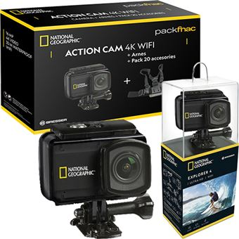 Pack Fnac Action Cam National Geographic Explorer 4 Ultra HD 4K Wi-Fi + Arnes + 20 Acessórios + 2x Baterias + Power Bank