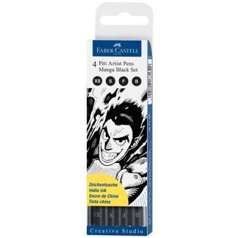 Canetas Faber-Castell Pitt Artist Pen Tinta-da-China: Manga Black - 4 Unidades