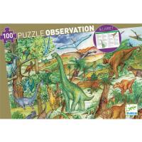 Puzzle Dinossauros 100 Peças com Livro e Poster - Djeco