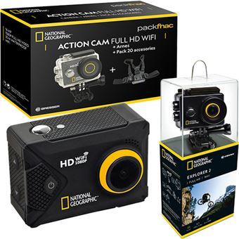 Pack Fnac Action Cam National Geographic Explorer 2 Full HD Wi-Fi + Arnes + 20 Acessórios