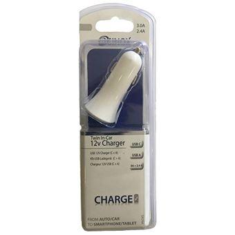 Carregador Isqueiro Sinox USB-A | USB-C - Branco