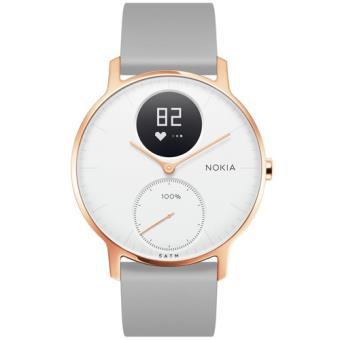 Monitor Atividade Nokia Steel HR 36mm - Rosa Dourado + Pulseira Silicone - Cinzento
