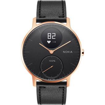 Monitor Atividade Nokia Steel HR 36mm - Rosa Dourado + Pulseira Pele - Preto + Pulseira Silicone - Preto