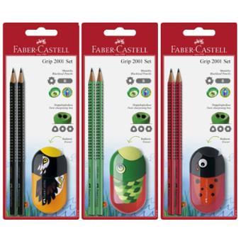 Lápis de Carvão Faber-Castell Grip 2001 e Afia Animais - Conjunto Escolar