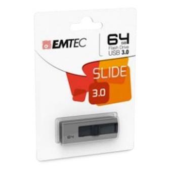 Emtec B250 Slide 64GB USB 3.0 (3.1 Gen 1) Type-A Cinzento unidade de memória USB