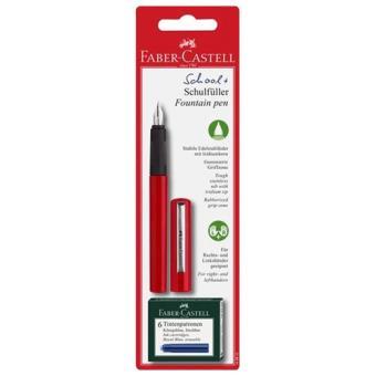 Caneta de Tinta Permanente Faber-Castell School+ com 6 Recargas - Vermelho