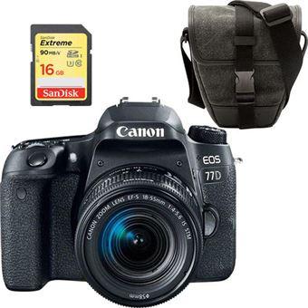 Canon EOS 77D + EF-S 18-55mm f/4-5.6 IS STM + Bolsa + Cartão de Memória