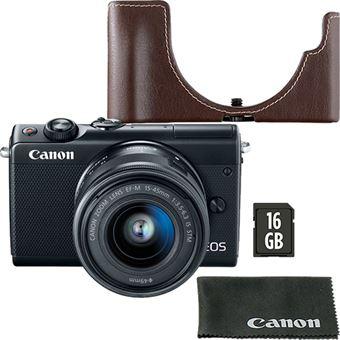 Canon EOS M100 - Preto + EF-M 15-45mm f/3.5-6.3 IS STM - Preto + Cartão de Memória + Bolsa