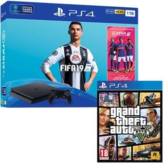 Consola Sony PS4 1TB + FIFA 19 + GTA V