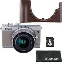 Canon EOS M100 + EF-M 15-45mm f/3.5-6.3 IS STM - Cinzento + Cartão de Memória + Bolsa