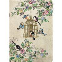 Caderno de Exercícios Pautado Bug Art - Beje com Pássaros, A6