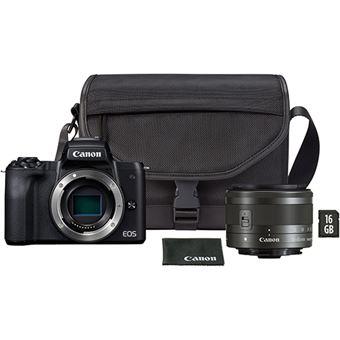 Canon EOS M50 + EF-M 15-45mm f/3.5-6.3 IS STM - Preto + Bolsa + Cartão Memória